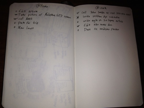 Moleskine GTD action lists
